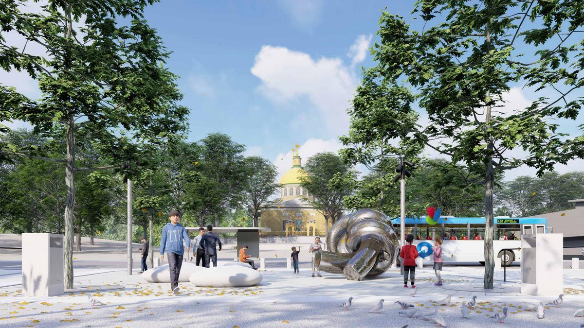 По окончании реконструкции на площади Шевченко и улице Яворницкого будет не меньше деревьев, чем до начала работ