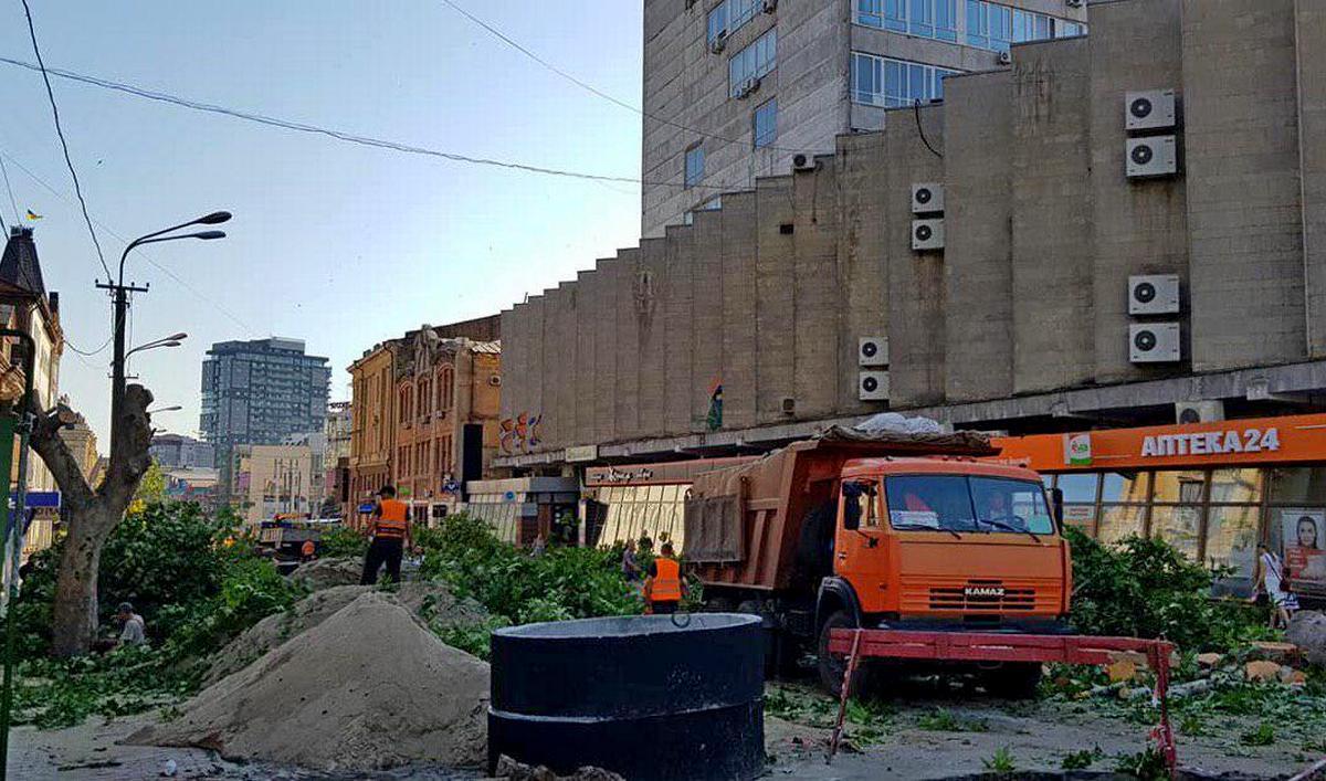 По словам заммэра Днепра, поменять коммуникации на улице Короленко без спила деревьев, было невозможно