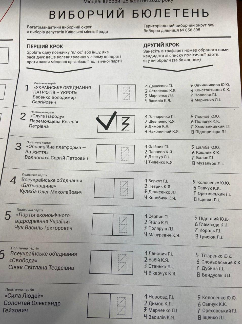 Так будет выглядеть бюллетень на выборах 25 октября