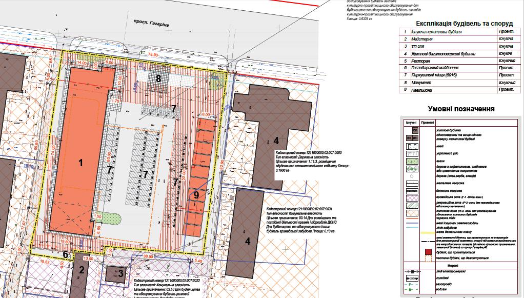 Фрагмент детального плана территории по адресу пр-кт Гагарина, 46