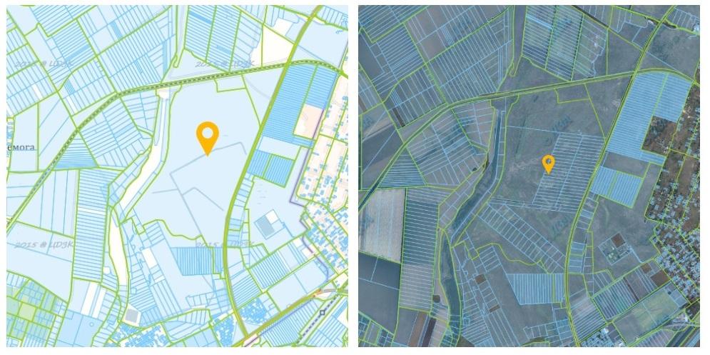 Слева так выглядел участок на Кадастровой карте в июле 2020 года, а на фото справа в декабре 2020 на нем уже появились распаеванные земли