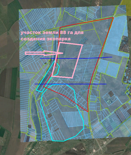 Фигуры бирюзового цвета на картах – это указанные территории вспаханных земель